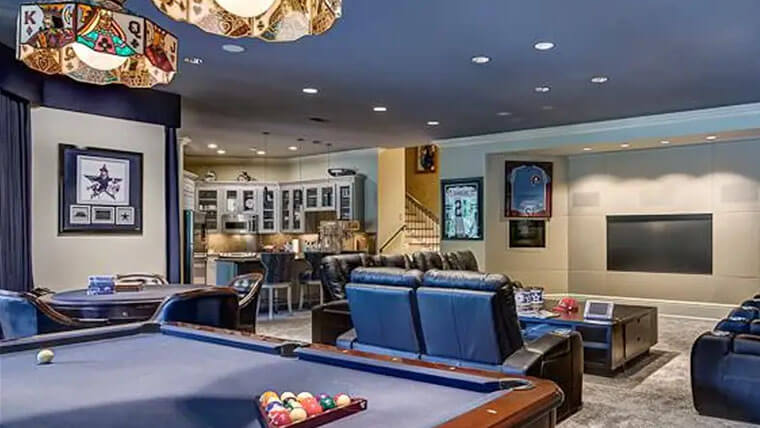 man cave seatings tv and pool table
